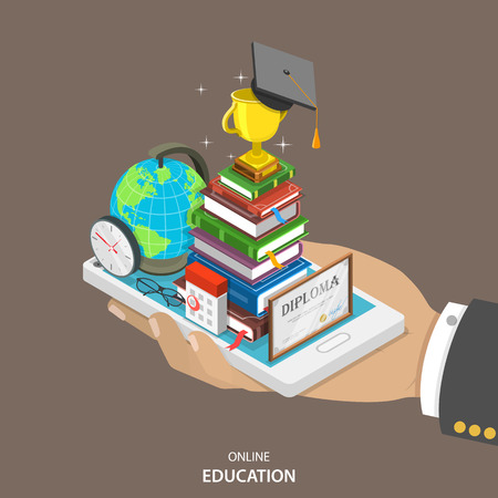 internet education: Online education isometric flat vector concept. Mans hand holds a mobile phone with education attributes like books, diploma, graduation hat. Distant learning service.