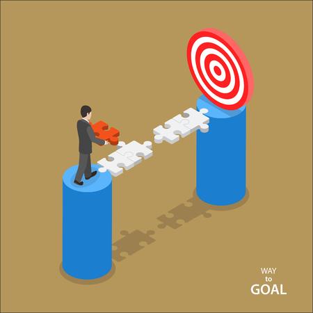 Camino al concepto del vector plana objetivo isométrica. Hombre en el juego camina para fijar la parte que falta de puente entre él y la meta.