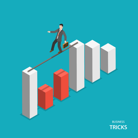 Business tricks isometric flat vector concept. Business men walks on a stick between two columns of financial chart avoiding red columns. Illustration