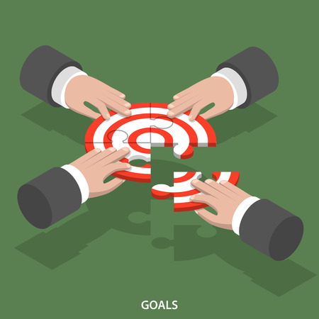 four hands: Team goals isometric flat vector concept. Four hands compose a target sign from puzzle parts.