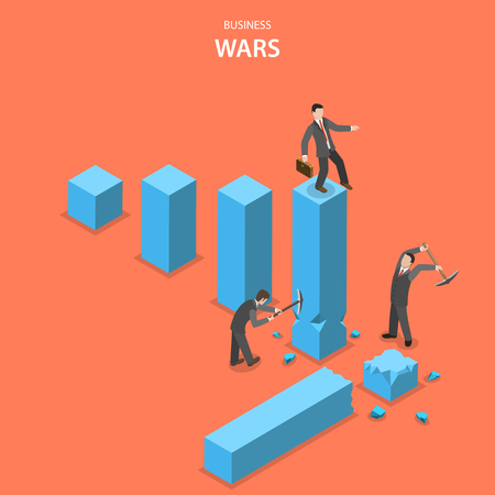 Business wars isometric flat vector concept. Man is jumping up on the financial graph columns but two other men impede him to do it by breaking columns.