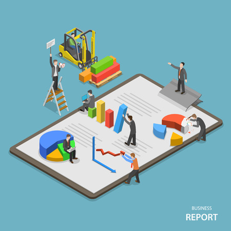 Business report isometric flat vector concept. Team of businessmen are constructing business report. Иллюстрация