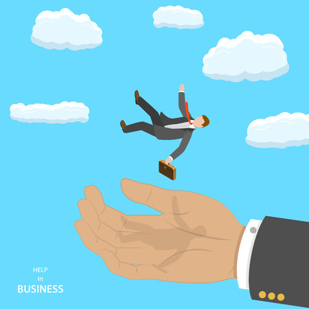 Help in business isometric flat vector concept. A big hand is caching falling businessman. Consulting, assistance, teamwork.