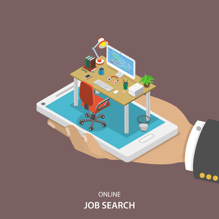 job hunting: Online job searching isometric flat vector concept. Hand with office table, chair and computer appeared from smartphone screen. HR, human resource, recruitment.