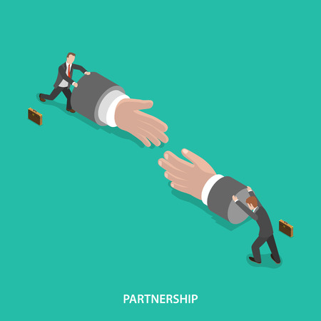 working together: Partnership isometric flat vector concept. Two businessmen are pushing big hand figures to each other to shake hands. Make a deal, teamwork.