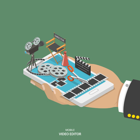 smartphone icon: Mobile video editor flat isometric vector concept. Hand with smartphone and equipment for movie creating like film strip, camera, directors chair on it. Illustration