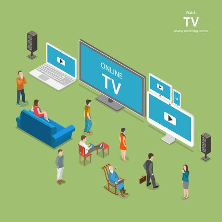 Streaming TV isométrique vecteur plat illustration. Les gens regardent la télévision en ligne sur différents appareils compatibles avec internet comme PC, ordinateur portable, télévision tablette, smartphone.