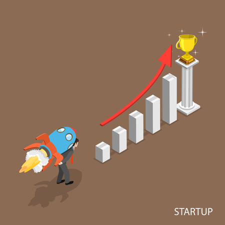 fly up: Startup isometric flat vector concept. Man with a rocket on his back is starting to fly up over the column chart to the winner cup. Illustration