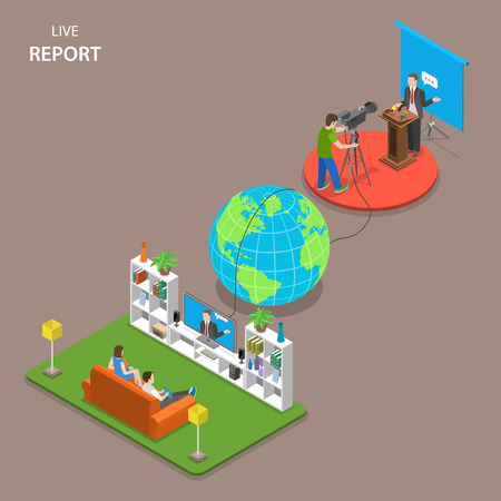 Live report isometric flat vector concept. Man and woman are watching speach that is taking place on other part of Earth at the same time.