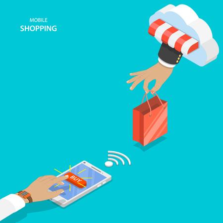 compra móvil vector concepto plana. La mano del hombre con bolso de compras de la nube y los clientes uno empujando botón comprar en el teléfono inteligente.