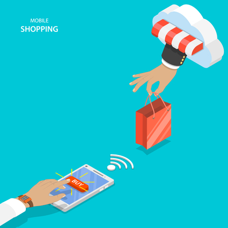 Mobile shopping flat vector concept. Hand of delivery man with shopping bag from cloud and customers one pushing button BUY on the smartphone.