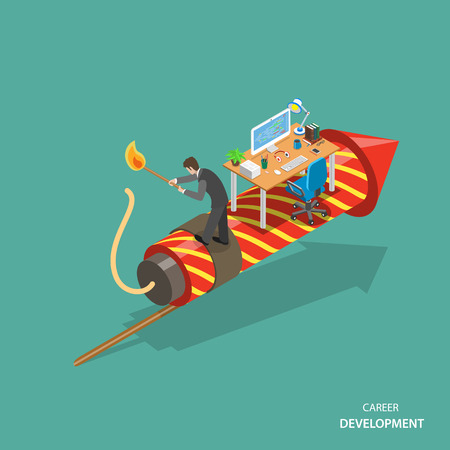 career development: Career development isometric flat vector concept. Man is standing on the firework rocket and trying to set it on fire to growth his career track.