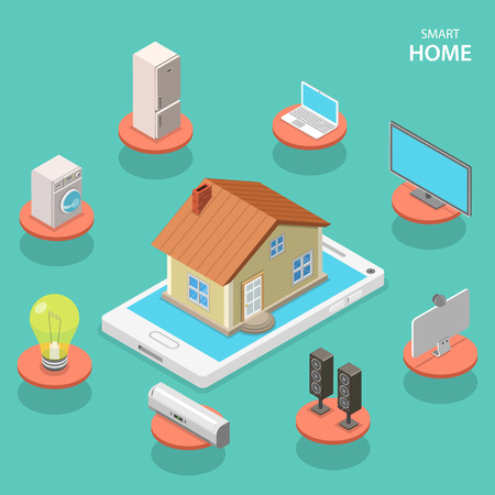 thermostat: Smart house isometric flat vector concept. A house is located on a smart phone surrounded by icon of smart devices. Illustration