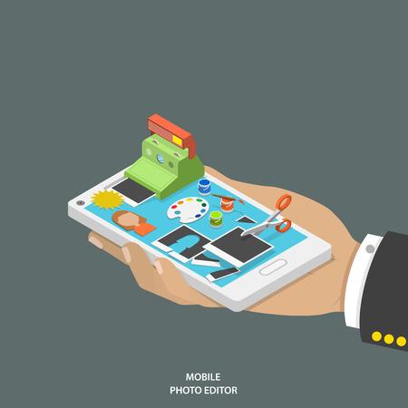 Mobile Photo Editor flach isometrische Vektor-Konzept. Hand mit Smartphone und Ausrüstung für Foto Erstellung und Bearbeitung von auf sie. Vektorgrafik