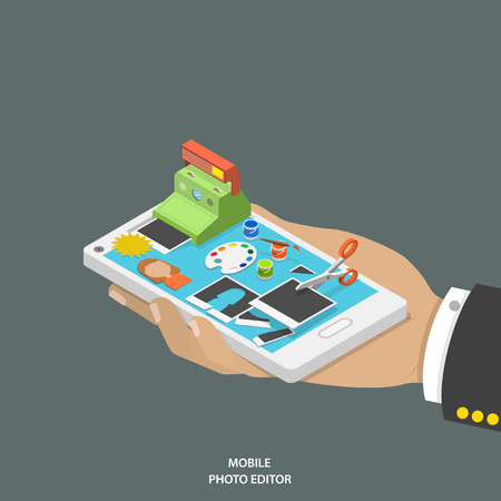 edit icon: Mobile photo editor flat isometric vector concept. Hand with smartphone and equipment for photo creating and editing onto it. Illustration