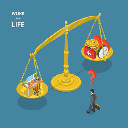 balance life: Work for life isometric flat vector illustration. Man is standing near the scales with working table on the first scale and money, health, love and time on the second.