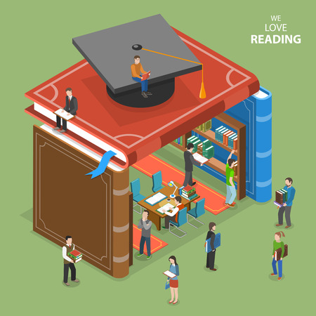 learning online: We love reading isometric flat vector concept. People near and inside library that is built of books. Education, reading, learning online. Online education, e-learning, tutorial, training courses, graduation.