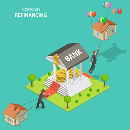 Ilustración de vector plano isométrico de refinanciación hipotecaria. Un hombre arrastra su casa solo hacia el banco. Después de la visita al banco, sale volando porque la casa ya no es pesada.