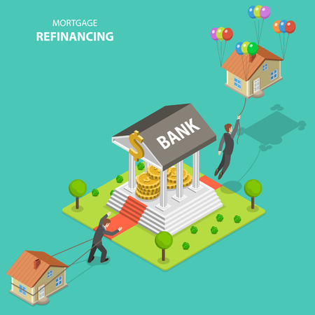 Mortgage refinancing isometric flat vector illustration. A man drags his house alone toward to the bank. After bank visit he flies out because the house is not heavy anymore. Illustration