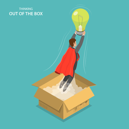 Thinking out of the box isometric flat vector conseptual illustration. The man in the red cloak flying out of the box with the lightbulb in his hands. Innovation, inspiration, creativity.