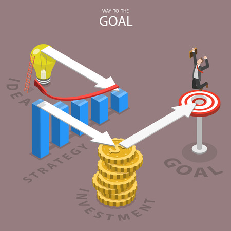 reached: A way to the goal isometric flat vector illustration. A businessman has reached this goal after making all the steps which are needed for this. Idea, strategy, investment, goal. Illustration