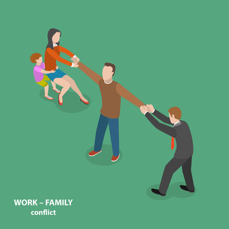 one child: Work-family conflict vector flat isometric concept. Man is pulled by his wife and child to one side and by his boss to the other side.