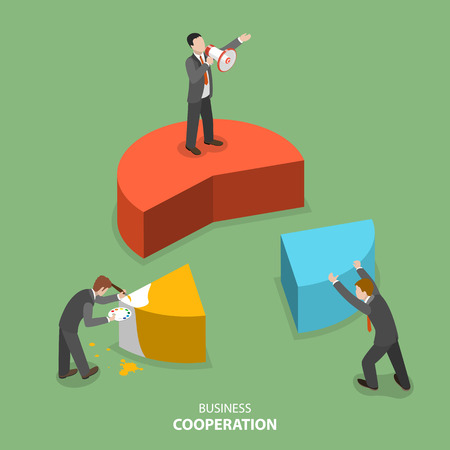 Business cooperation isometric flat vector concept. Three businesmen are building together a business chart part by part. Partnership, teamwork, collaboration, solution. Illustration
