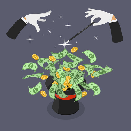 Easy money flat vector isometric illustration. Hands of magician makes a magic trick for making the hat throw out money.