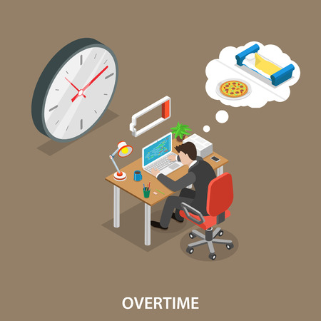 Overtime isometric flat vector illustration. Man is sitting at the table, working overtime, exhausted, dreaming about a meal and a bed.
