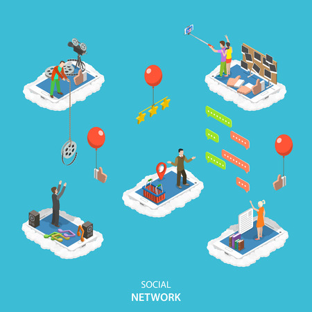 push people: Social network isometric flat vector illustration. People are standing on their phones in the clouds and interact in different ways: push like , rate content, exchange by photo and video, chatting.