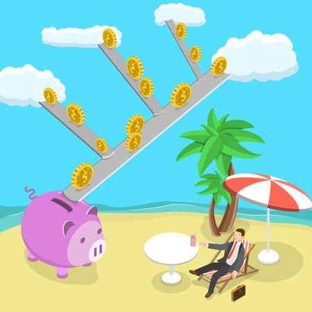 passive income: Passive income flat isometric vector illustration. Man is lying on the beach while the money are rolling down from the clouds to his piggy bank. Dividends, royalties, financial freedom. Illustration