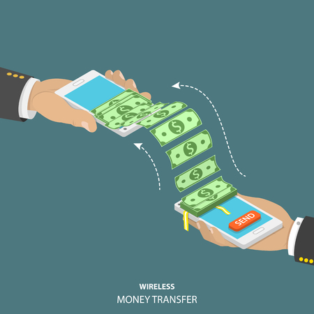 Wireless money transfer isometric vector illustration. Two smartphones in mens hands and bundle of the banknotes flying from one smartphone to the other.