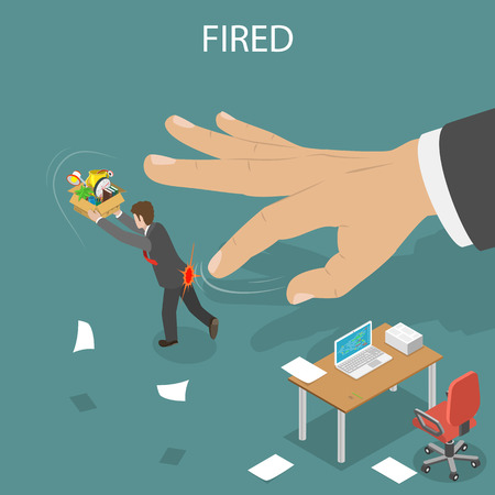 dismissed: Getting fired isometric flat vector illustration. Boss hand fillip on the employee to push him out of the office. Dismissed, loss job.