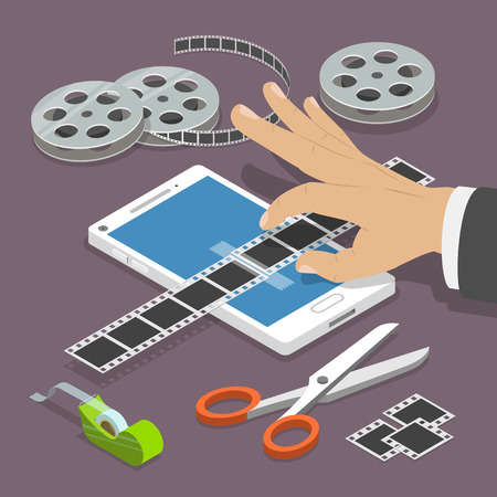 Mobile video editor flat vector isometric concept. Man's hand scotch-tapes a film tape on the smartphone surrounded by some equipment. 일러스트