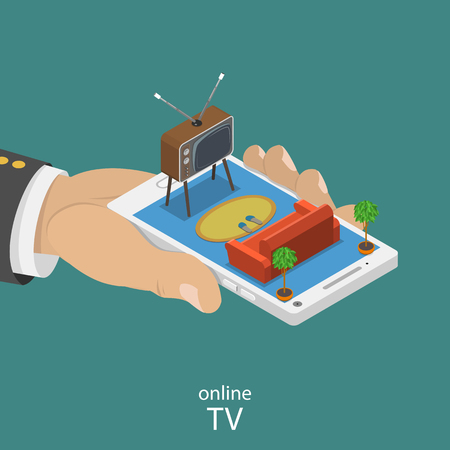 Online TV flat isometric vector concept. Smartphone with the TV set sofa on in the man hand. Live stream, video player.