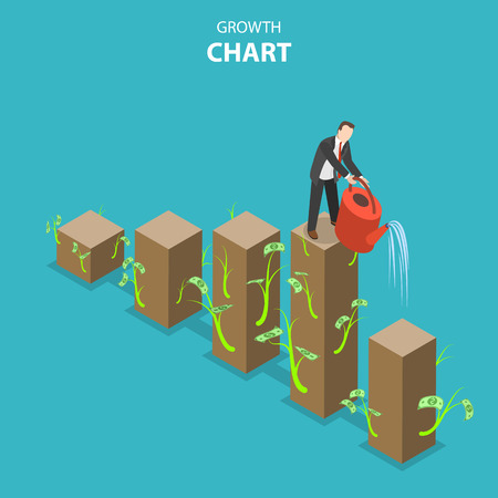 Growth chart flat isometric vector illustration. Businessman irrigates chart bars to grow them up.