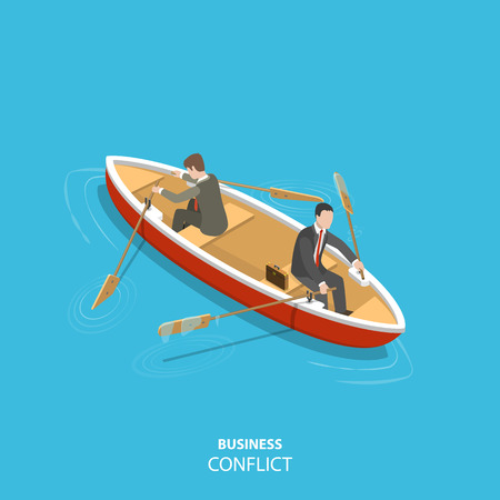 Business conflict flat isometric low poly vector concept