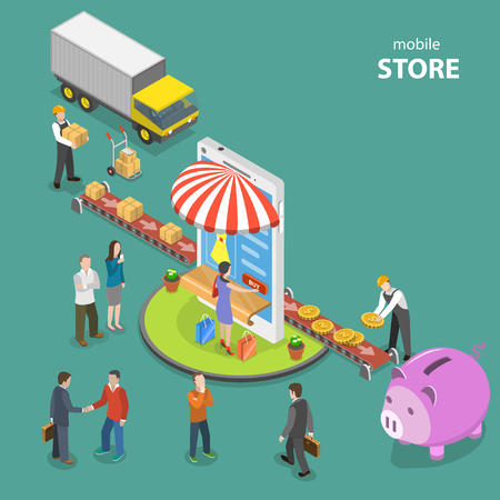 Mobile store flat isometric low poly vector concept. 向量圖像