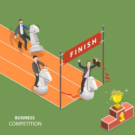 Business competition flat isometric low poly vector concept. Ilustração