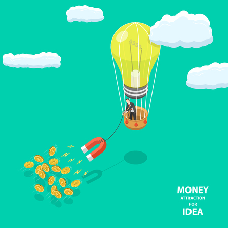 Money attraction for idea flat isometric low poly concept.