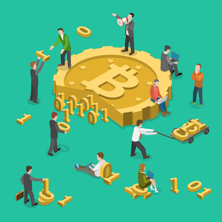 Bitcoin mining flat isometric low poly vector concept