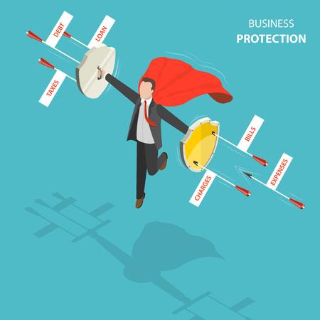 비즈니스 보호 평면, 아이소 메트릭 낮은 폴 리 벡터 개념. 빨간 외투를 가진 남자는 빚, 대부, 세금, 경비, 계산서, 책임 표제를 가진 화살에서 방어하 스톡 콘텐츠