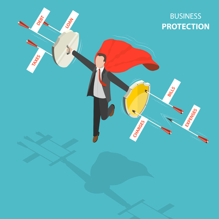 Business protection flat, isometric low poly vector concept. Man with a red cloak is hovering over the ground like a superhero with shields in his hands defending from arrows with captions debt, loan, taxes, expenses, bills, charges. Reklamní fotografie - 89534136