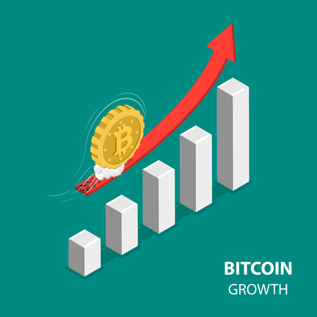 Bitcoing growth flat isometric low poly vector concept. Bitcoin is moving up at high speed over the rising financial chart.