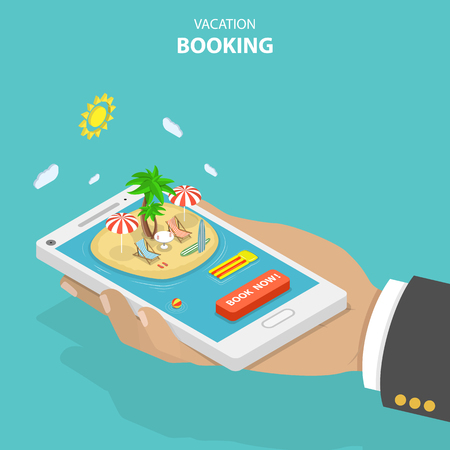 Vacation booking flat isometric low poly vector concept 免版税图像 - 90035488