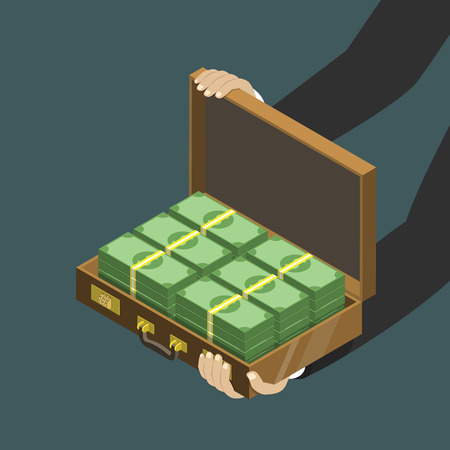 Money in the suitcase flat isometric low poly vector concept Illustration