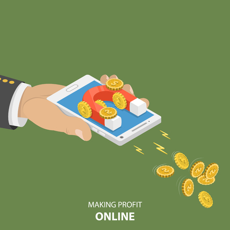 Making money online flat isometric vector concept. Hand is holding a smartphone with magnet on it that is attractioning coins with dollar sign. Imagens