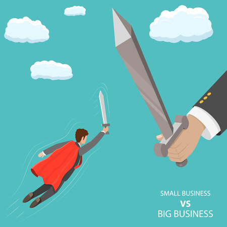 Small business VS big flat isometric vector concept. A businessman that looks like a superhero is flying with sword in his hand to fight with huge hand with big sword. Banco de Imagens