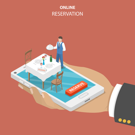Restaurant online booking flat isometric vector concept.  イラスト・ベクター素材