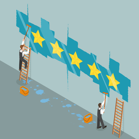 Five star rating flat isometric vector concept